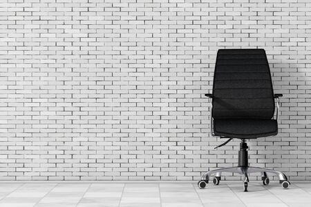 exclusive: Black Leather Boss Office Chair in front of brick wall. 3d Rendering. Stock Photo