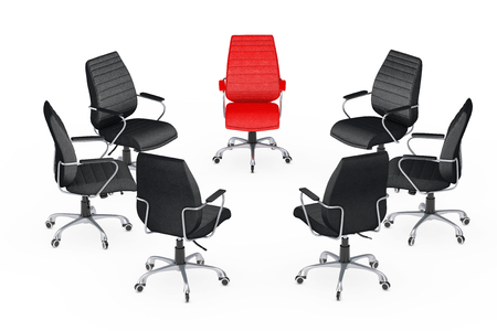 Business Large Meeting. Chairs arranging round with Red Leather Boss Office Chair on a white backgroundl. 3d Rendering. Stock Photo