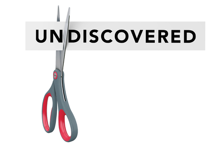 discovered: Cutting Undiscovered to Discovered Paper Sign with Scissors on a white background. 3d Rendering.