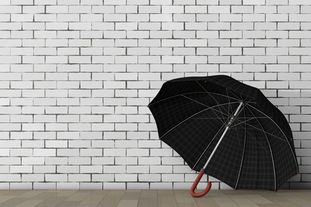 brolly: Big Modern Luxury Umbrella in front of brick wall. 3d Rendering. Stock Photo