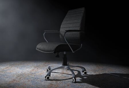 exclusive: Black Leather Boss Office Chair in the Volumetric Light on a black background. 3d Rendering.