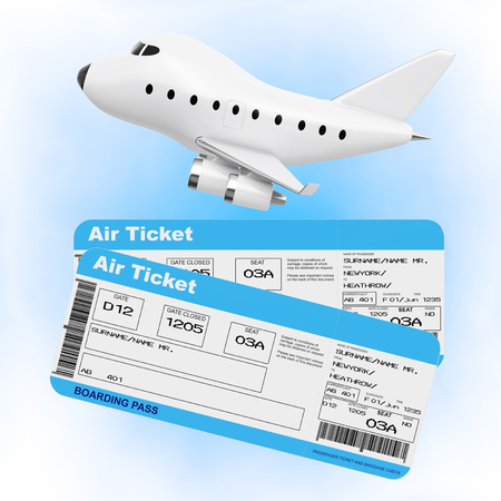 Air Travel Concept. Cartoon Toy Jet Airplane with Airline Boarding Pass Tickets on a blue background. 3d Rendering.