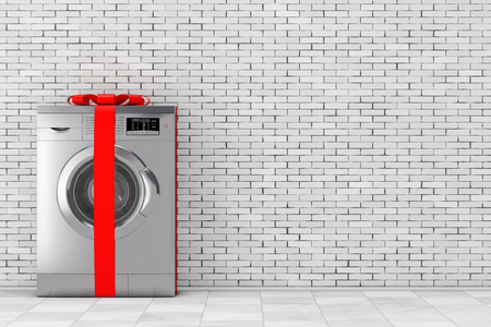 Modern Metalic Washing Machine in front of brick wall. 3d Rendering.