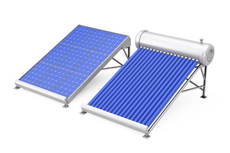 白い背景の上の太陽電池パネルと太陽光給湯。3 d レンダリング。