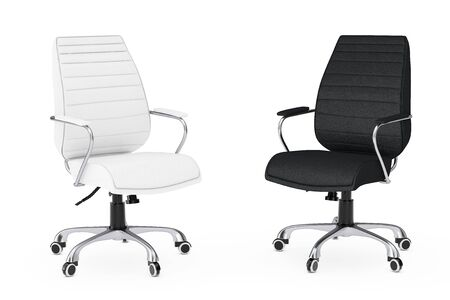 exclusive: Black and White Leather Boss Office Chairs on a white backgroundl. 3d Rendering.