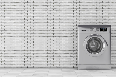 rinse: Modern Metalic Washing Machine in front of brick wall. 3d Rendering.