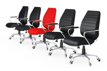 Business Large Meeting. Red Leather Boss Office Chair Between other Chairs on a white backgroundl. 3d Rendering. Stock Photo