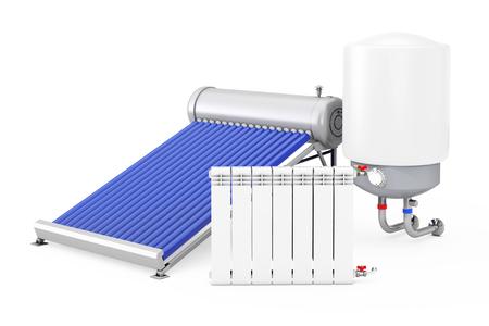 Zonneboiler met Ketel en Radiator op een witte achtergrond. 3D-rendering.