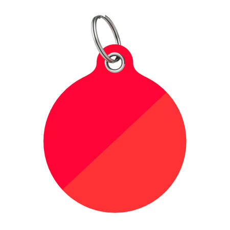 Red Blank Tag with Metal Ring on a white background. 3d Rendering.