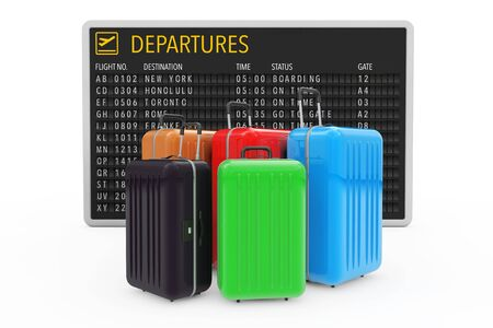 Air Travel Concept. Large Multicolour Polycarbonate Suitcases near Airport Departures Table on a white background. 3d Rendering.