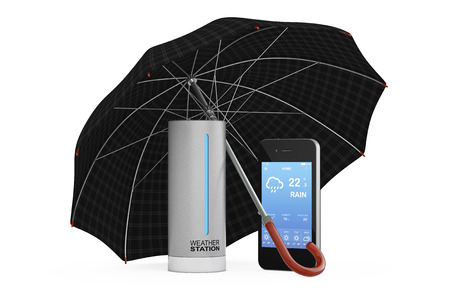 Modern Digital Wireless Home Weather Station with Mobile Phone with Weather on Screen covered by Umbrella on a white background. 3d Rendering.