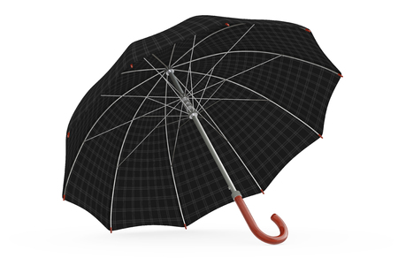 brolly: Big Modern Luxury Umbrella on a white background. 3d Rendering. Stock Photo