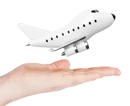 jetliner: Cartoon Toy Jet Airplane over Hand on a white background. 3d Rendering.