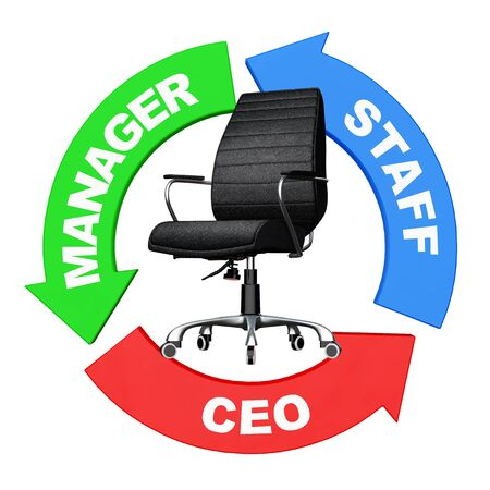 Career from Staff to CEO Concept. Arrows with Staff, Manager and CEO Sign around Black Leather Boss Office Chair on a white background. 3d Rendering. Stock Photo