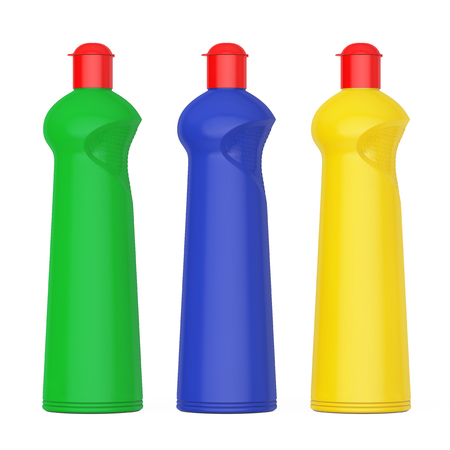 Multicolour Plastic Bottles for Liquid Detergent on a white background. 3d Rendering.