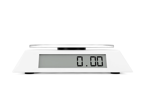 Simple Kitchen Digital Scale on a white background. 3d Rendering.