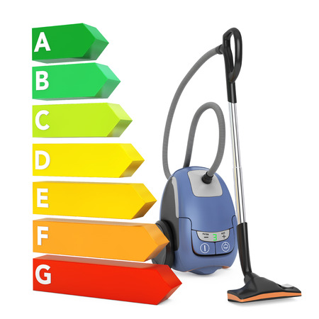 Modern Vacuum Cleaner near Energy Efficiency Rating Chart on a white background. 3d Rendering.