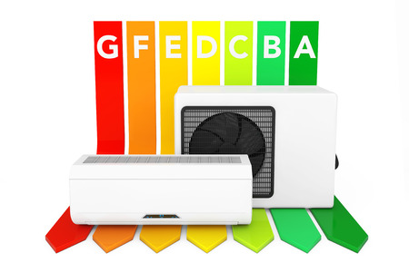 Modern Air Conditioner over Energy Efficiency Rating Chart on a white background. 3d Rendering. Stock Photo