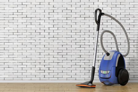 carpet cleaning service: Home Appliance Concept. Modern Vacuum Cleaner in front of brick wall. 3d Rendering.