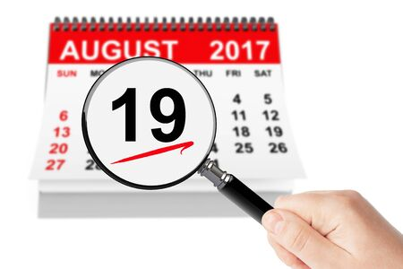 event planning: National Aviation Day Concept. 19 August 2017 calendar with magnifier on a white background