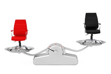 acquit: Red and Black Leather Boss Office Chairs Balancing on a Simple Weighting Scale on a white background. 3d Rendering. Stock Photo