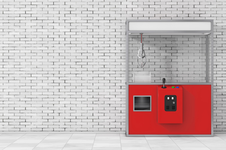Empty Carnival Red Toy Claw Crane Arcade Machine in front of brick wall. 3d Rendering. Stok Fotoğraf