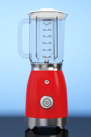 liquefy: Kitchen Appliance Concept. Modern Electric Blender on a blue background. 3d Rendering. Stock Photo