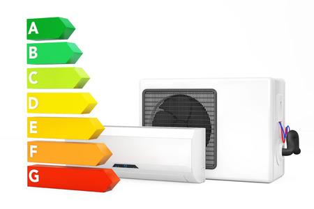 Moderne Klimaanlage über Energieeffizienz-Diagramm Auf Einem Weißen ...
