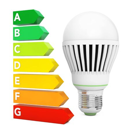 LED Bulb near Energy Efficiency Rating Chart on a white background. 3d Rendering.