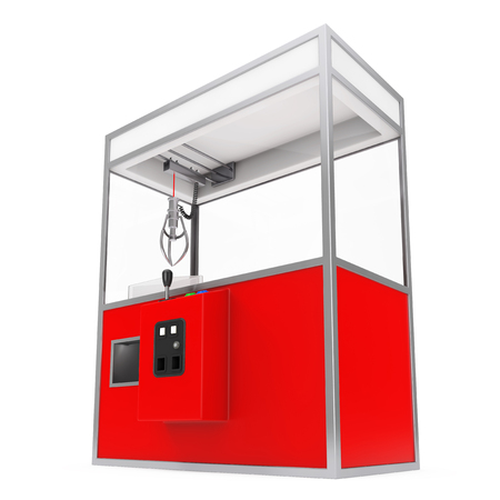 grab: Empty Carnival Red Toy Claw Crane Arcade Machine on a white background. 3d Rendering. Stock Photo