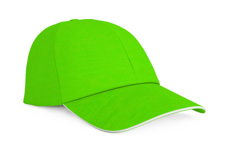 hat with visor: Green Fashion Baseball Cap on a white background. 3d Rendering. Stock Photo