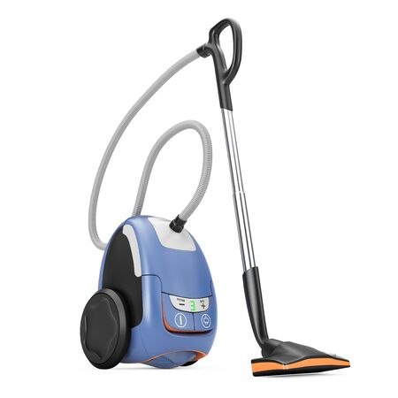 Home Appliance Concept. Modern Vacuum Cleaner on a white background. 3d Rendering. Stock Photo