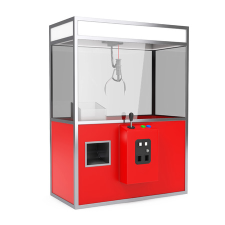 Empty Carnival Red Toy Claw Crane Arcade Machine on a white background. 3d Rendering. Stock Photo