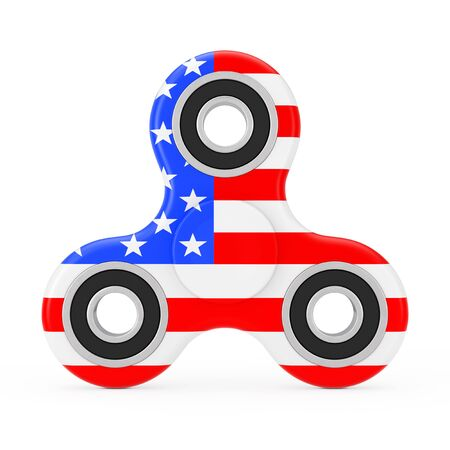US Flag Design Fidget Finger Spinner Antistress Toy on a white background. 3d Rendering. Stock Photo