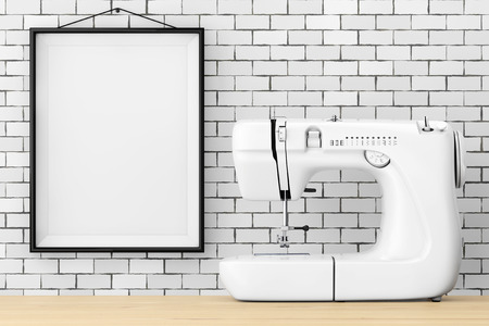 dressmaking: Modern White Sewing Machine in front of Brick Wall with Blank Frame extreme closeup. 3d Rendering. Stock Photo