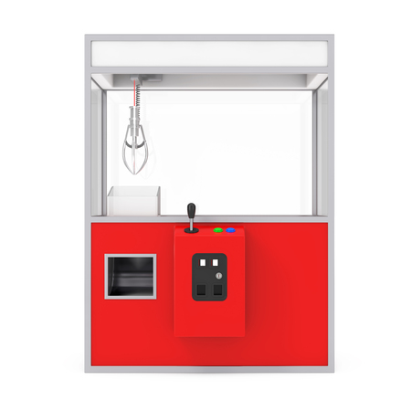 Empty Carnival Red Toy Claw Crane Arcade Machine on a white background. 3d Rendering. Archivio Fotografico