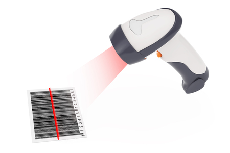 Wireless Manual Bar Code Reader that Read a Bar Code with Laser Light on a white background. 3d Rendering.