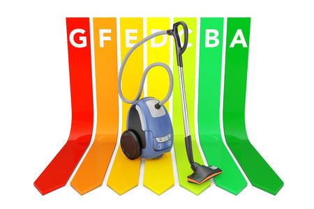 Modern Vacuum Cleaner over Energy Efficiency Rating Chart on a white background. 3d Rendering.