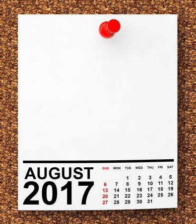 numbers background: Calendar August 2017 on blank note paper with free space for your text.3d Rendering