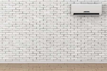 Modern Air Conditioner in front of brick wall. 3d Rendering.