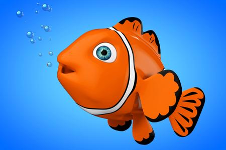 aquarium hobby: Cartoon Red Sea Clownfish on a blue background. 3d Rendering.
