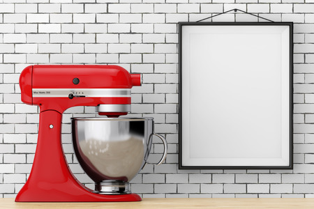 Red Kitchen Stand Food Mixer in front of Brick Wall with Blank Frame extreme closeup. 3d Rendering
