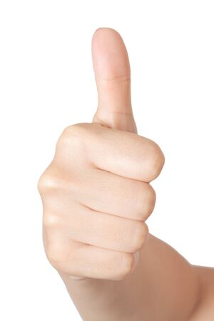 Woman Hand with Thumb Up on a white background Stock Photo