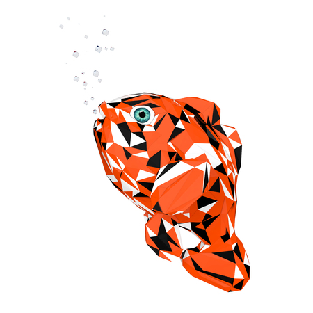 Trendy Low-Poly Style Cartoon Red Sea Clownfish on a white background. 3d Rendering.