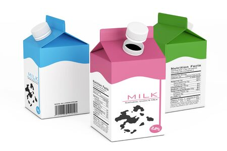 Milk Carton Boxes on a white background. 3d Rendering
