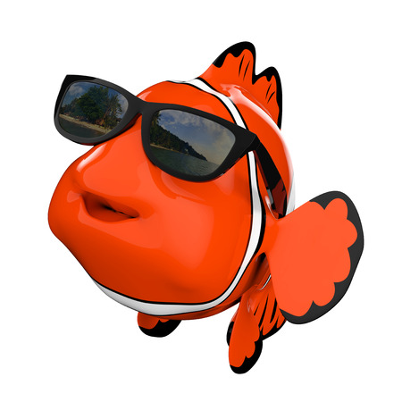 Cartoon Fun Red Sea Clownfish with Sunglasses on a white background. 3d Rendering.