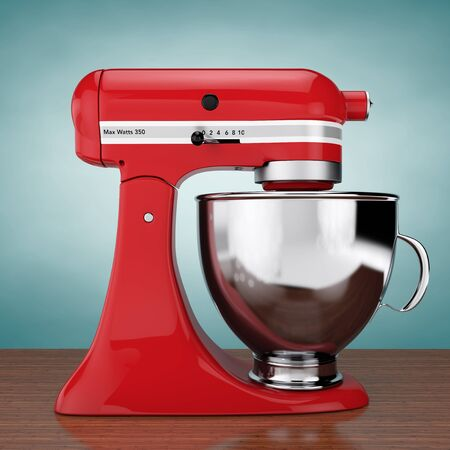 Red Kitchen Stand Food Mixer on a wooden table. 3d Rendering Stock Photo