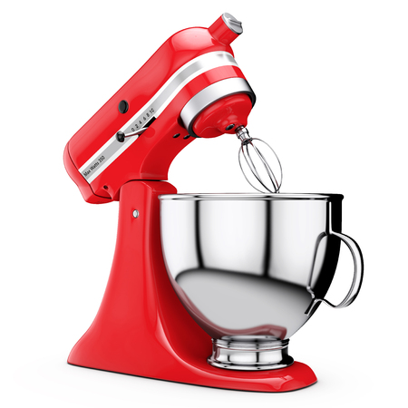 kitchen appliances: Red Kitchen Stand Food Mixer on a white background. 3d Rendering