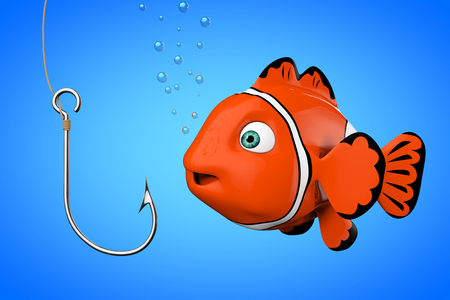Cartoon Red Sea Clownfish Looking on a Fishhook on a blue background. 3d Rendering. Stock Photo