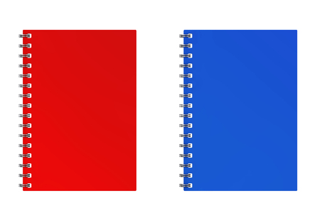 Advertising or Branding Template Blank Notebook Red and Blue Mockups on a white background. 3d Rendering. Stock Photo
